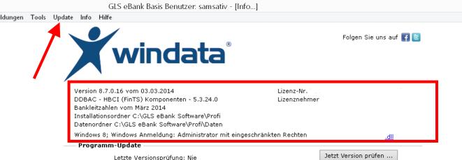 menue_windata_versionsangabe_Update_und_Lizenz