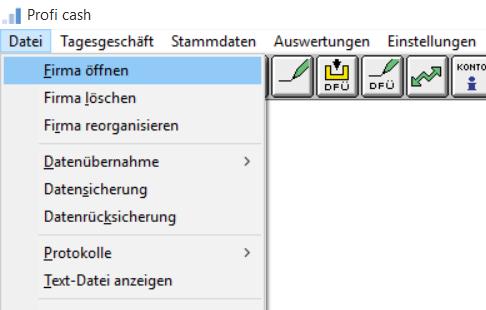 Profi_cash_Firmenwechsel_05_Menue_Firma_oeffnen